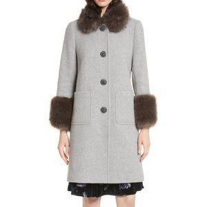NWT Kate Spade Star Bright Gray Faux Fur Coat sz 0